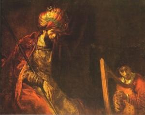 Rembrandt: David speelt harp voor Saul